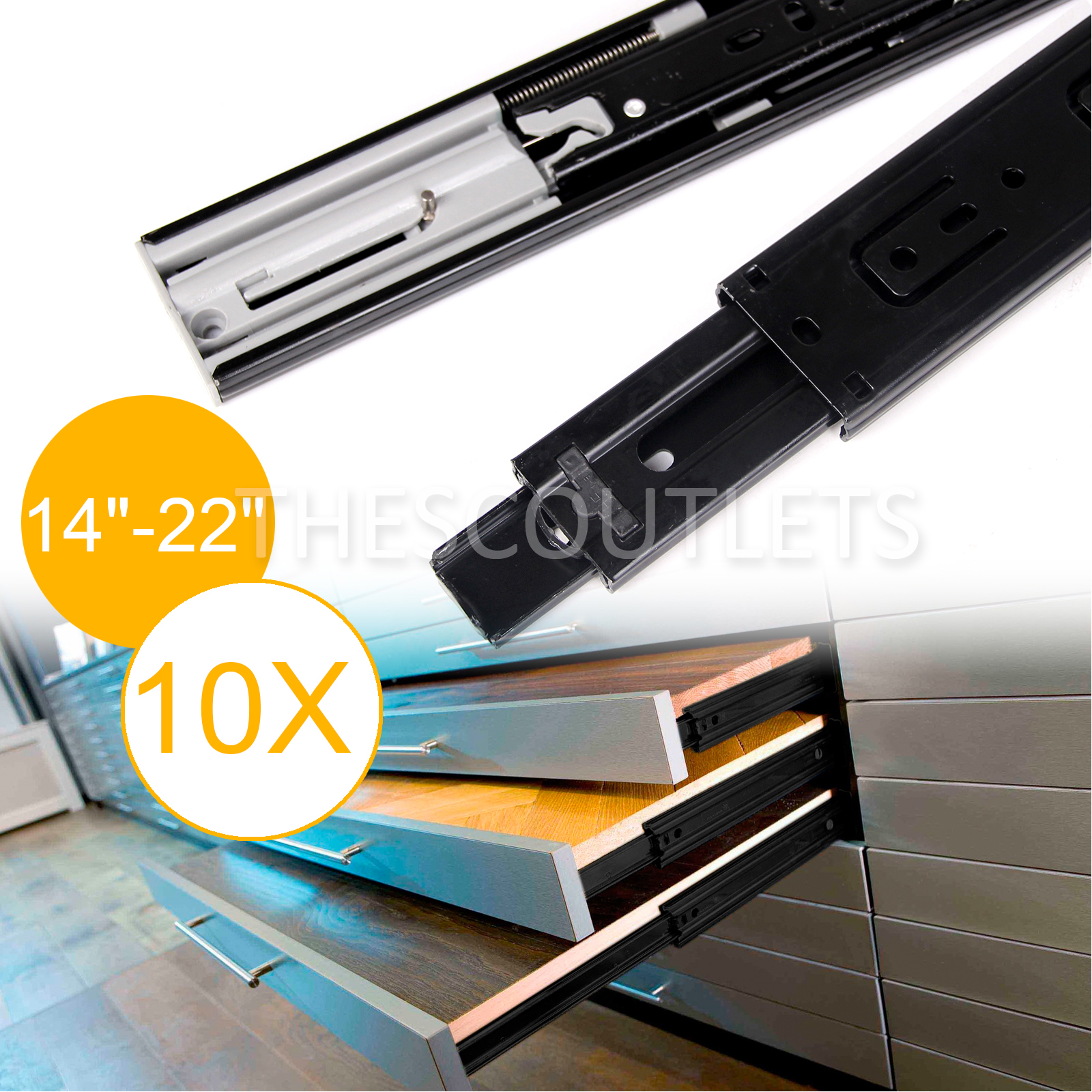 ball bearing full extension 14 22 soft close drawer slides 10 pairs value pack. Black Bedroom Furniture Sets. Home Design Ideas