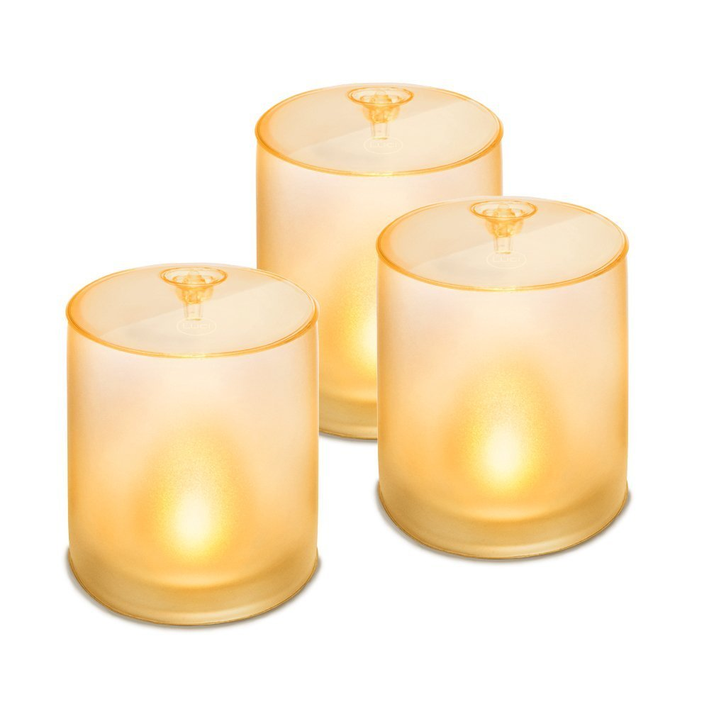 Mpowerd luci candle trio 3 pack of soft frosted for Luci a led calde
