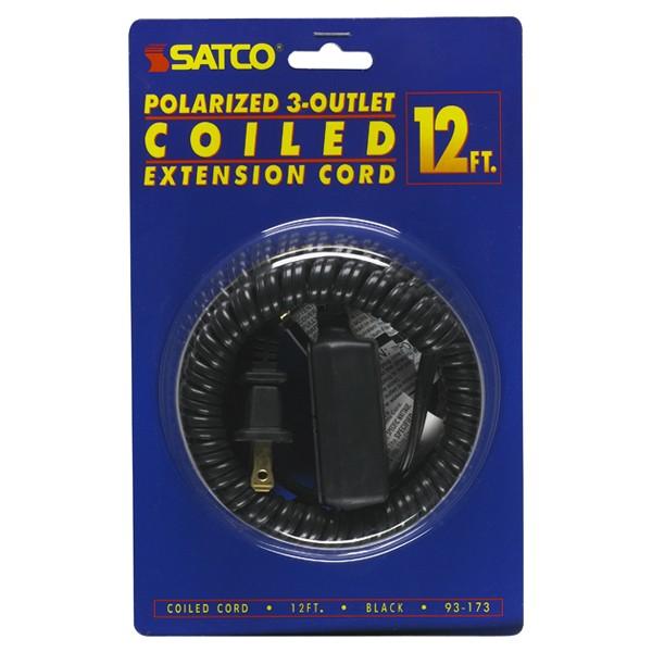 satco 12 39 black coiled cord 93 173 ebay. Black Bedroom Furniture Sets. Home Design Ideas