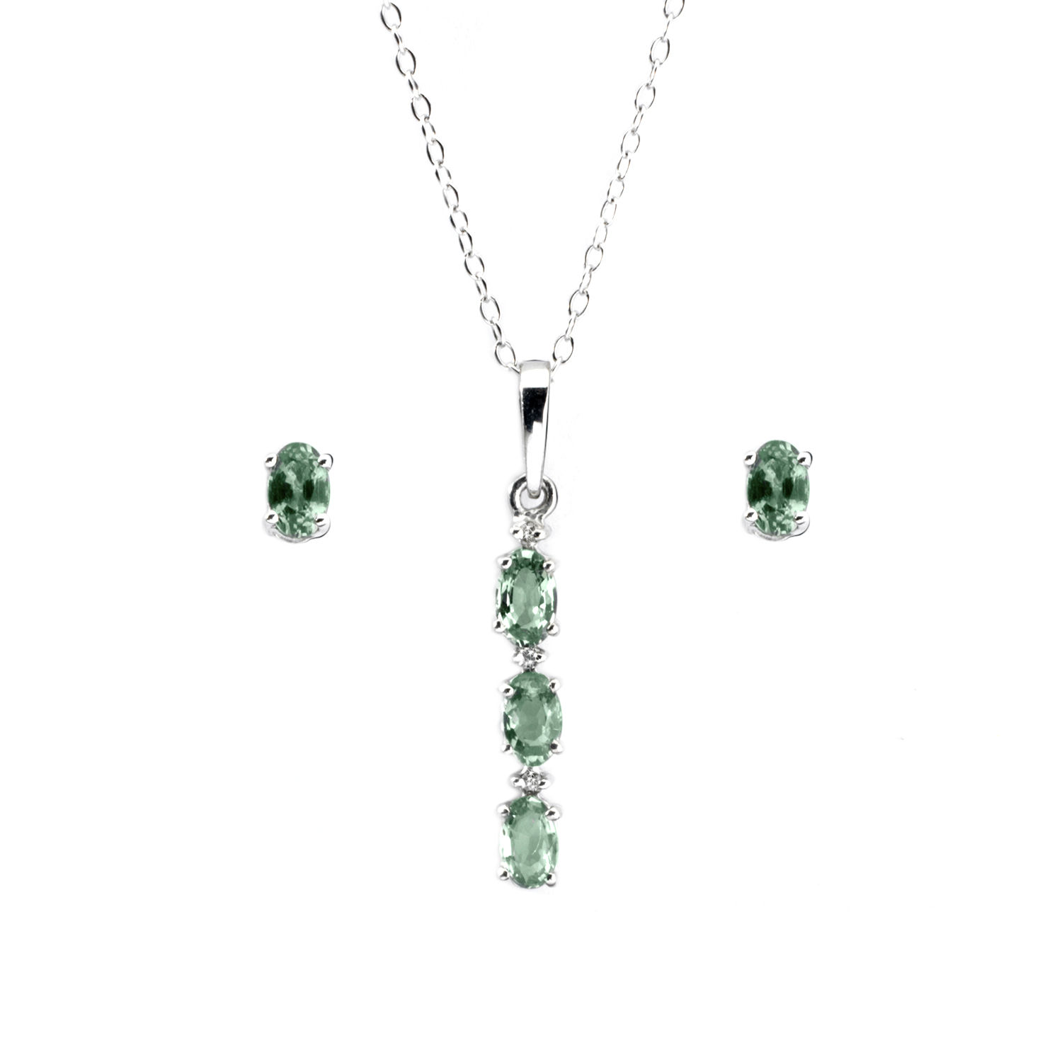Anderson webb green sapphire and diamond pendant and earrings set image is loading anderson amp webb green sapphire and diamond pendant aloadofball Choice Image