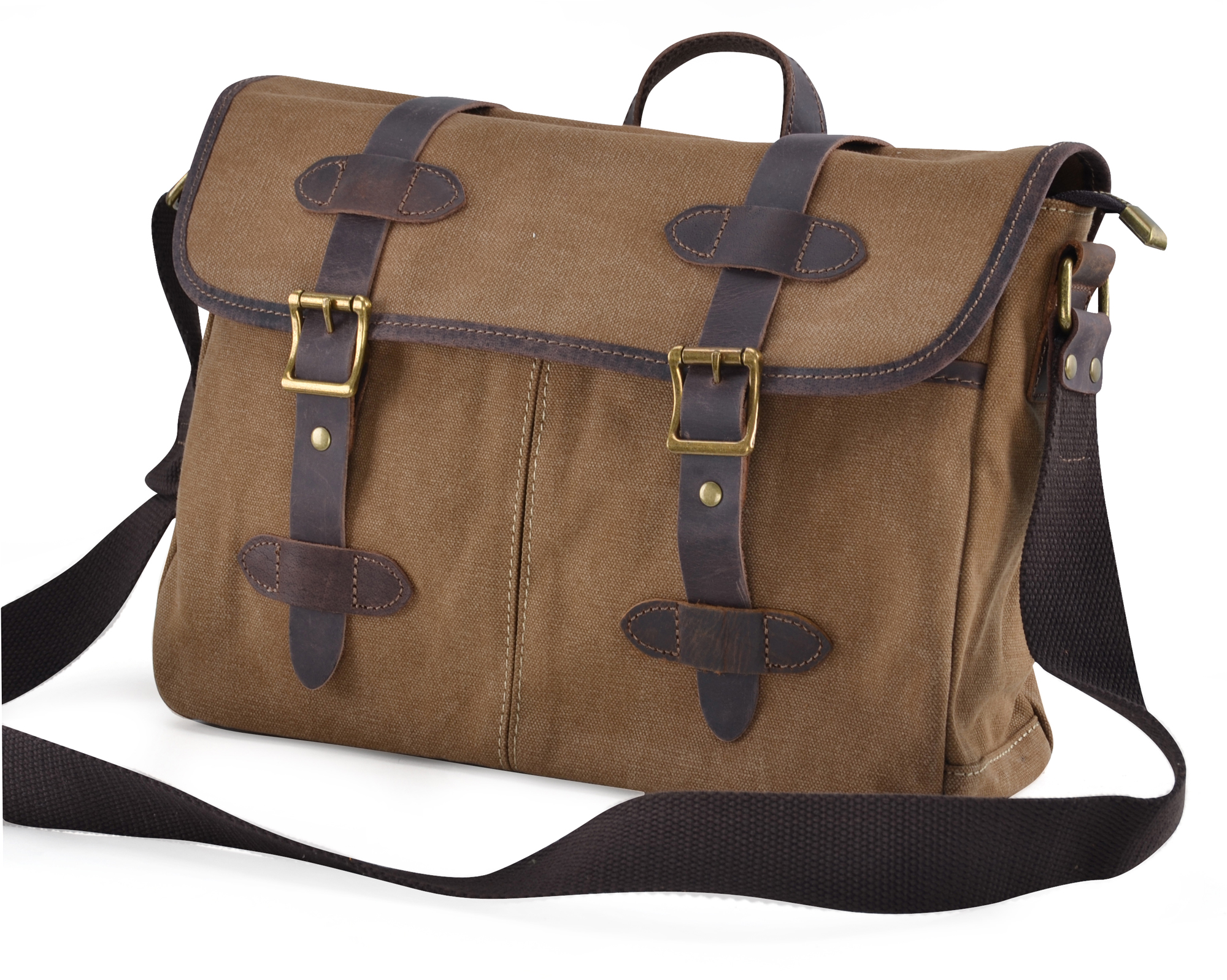 Gootium Vintage Canvas Genuine Leather Messenger Bag Cross