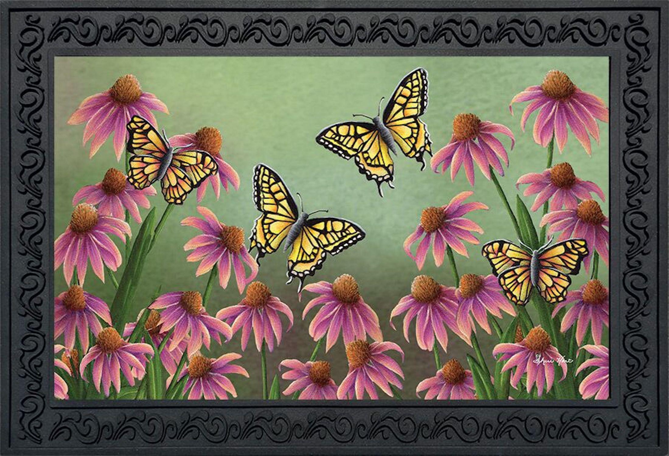Echinacea Butterfly Spring Doormat Indoor Outdoor Monarch