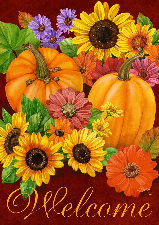 Fall Glory Floral Garden Flag Pumpkins Sunflowers Autumn