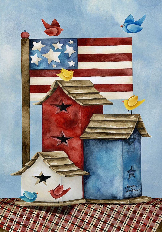Freedom Birdhouses Spring Garden Flag Patriotic Primitive
