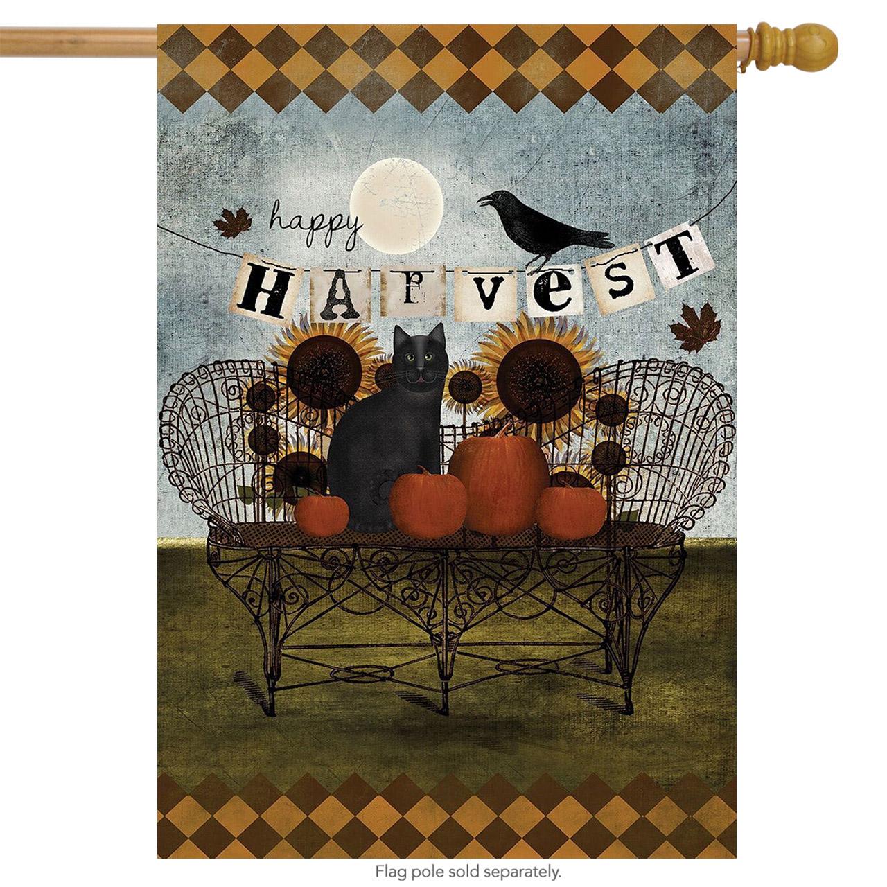 Happy Harvest Primitive Fall House Flag - DiscountDecorativeFlags.com