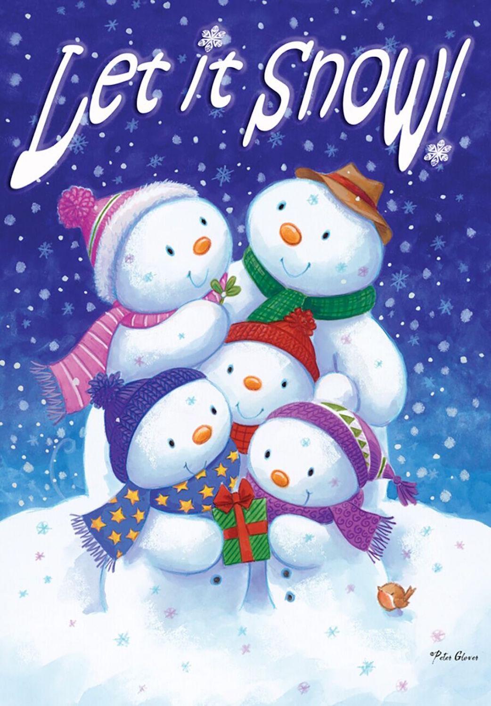 Welcome Snowman Winter Burlap House Flag Seasonal 28 x 40 ...