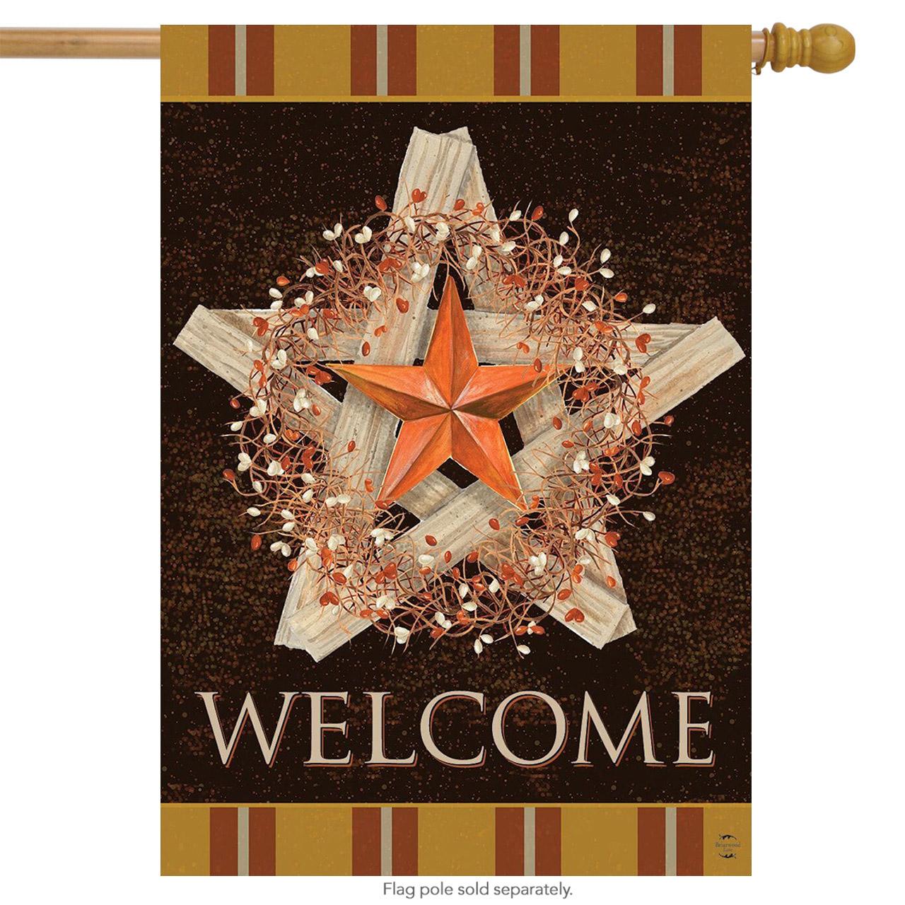 Autumn Barnstar Primitive House Flag - DiscountDecorativeFlags.com