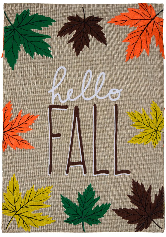 "Hello Fall Leaves Burlap Garden Flag Autumn 12.5/"" x 18/"" Briarwood Lane"