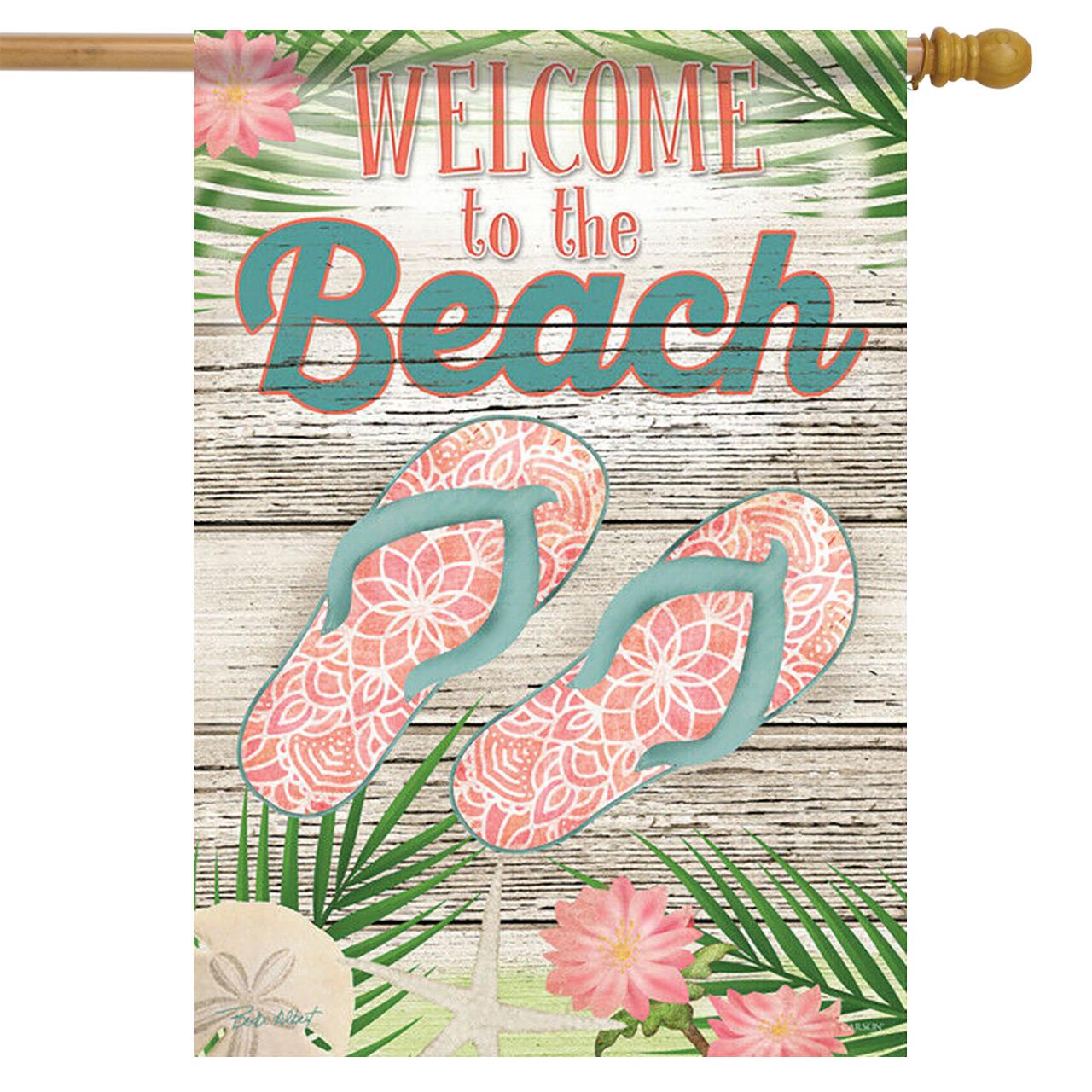 "Beachy Flip Flops Summer House Flag Welcome Nautical 28/"" x 40/"" Briarwood Lane"