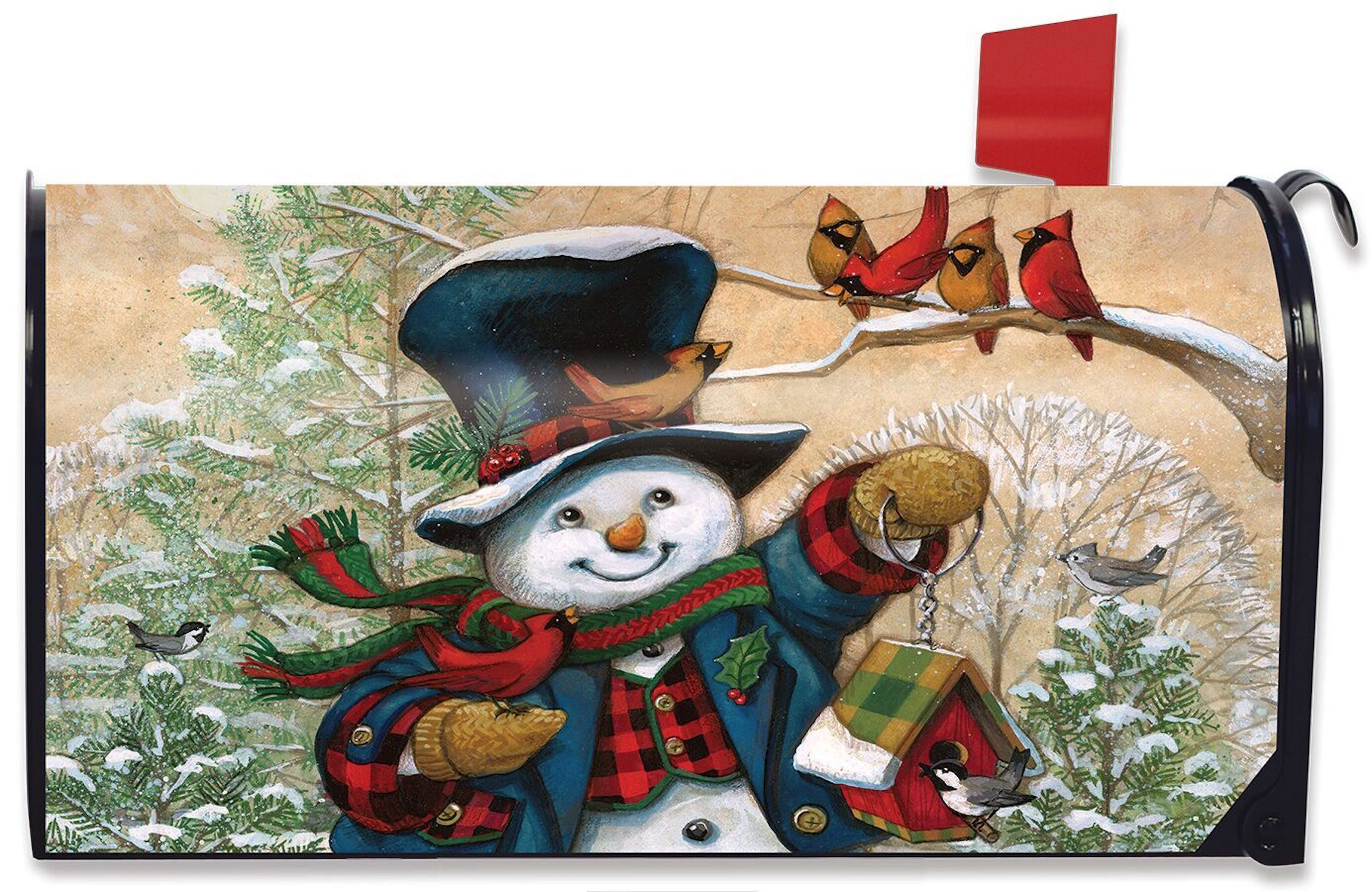 Briarwood Lane Celebrate Winter Snowman Large Mailbox Cover Primitive *Oversized*