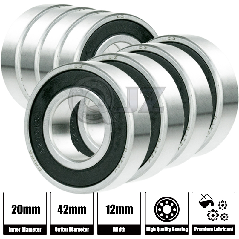 2x 6004-2RS Ball Bearing 20mm x 42mm x 12mm Rubber Sealed Premium RS 2RS QJZ