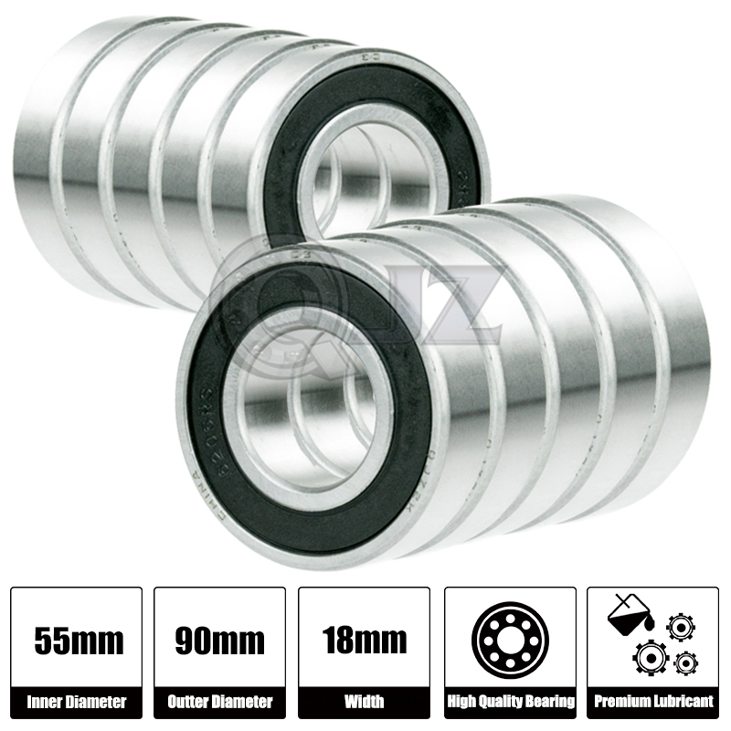 4x 6011-2RS Ball Bearing 55mm x 90mm x 18mm Rubber Sealed Premium RS 2RS NEW