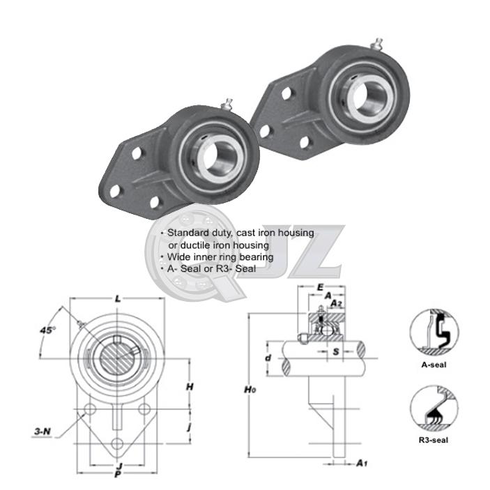 2x 20mm 3-Bolt Flange Bracket Unit Cast Iron UCFB204 Mounted Bearing UC204+FB204
