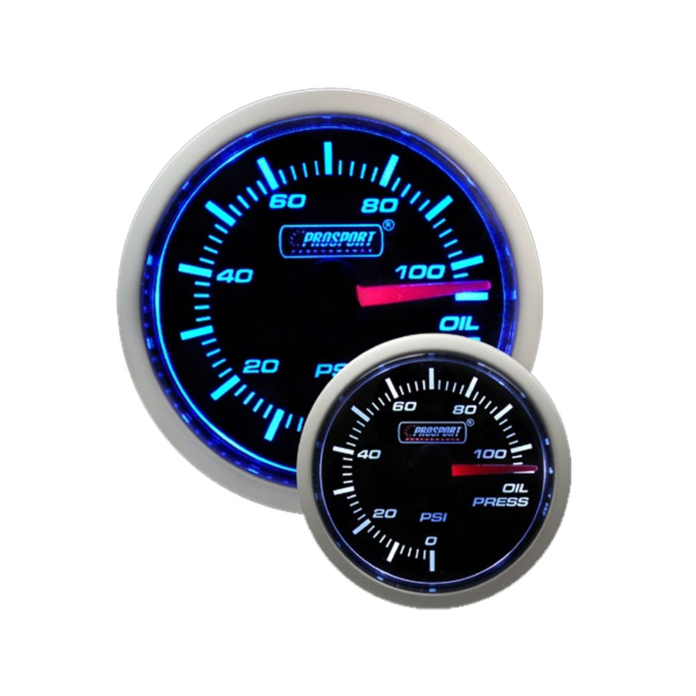 Blue // White Prosport 52mm Universal Oil Temperature Gauge with Sender