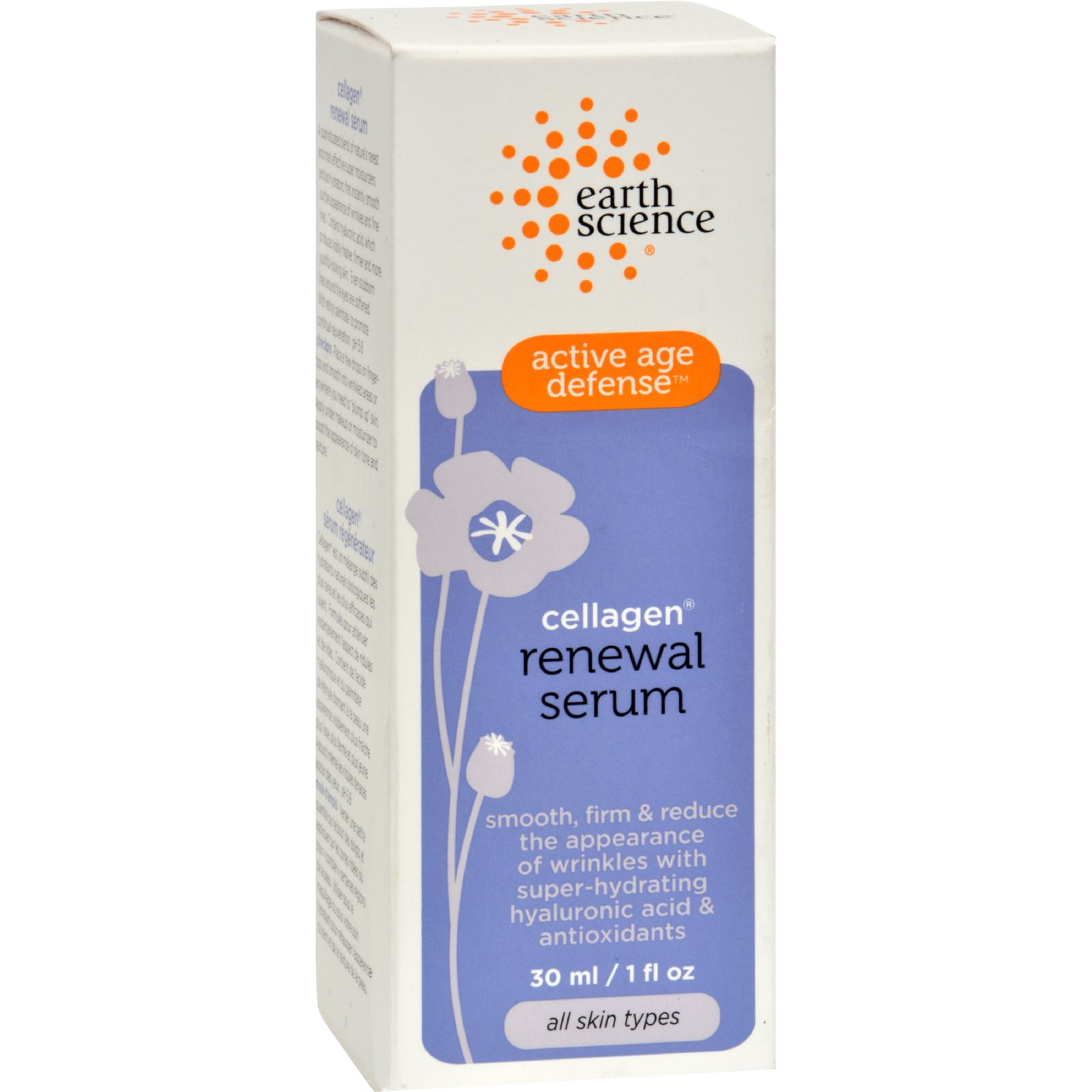 Active Age Defense Cellagen Renewal Serum - 1 oz. by Earth Science (pack of 1) 6 Pack Lac-Hydrin Five Moisturizing Lotion 8 Oz Each