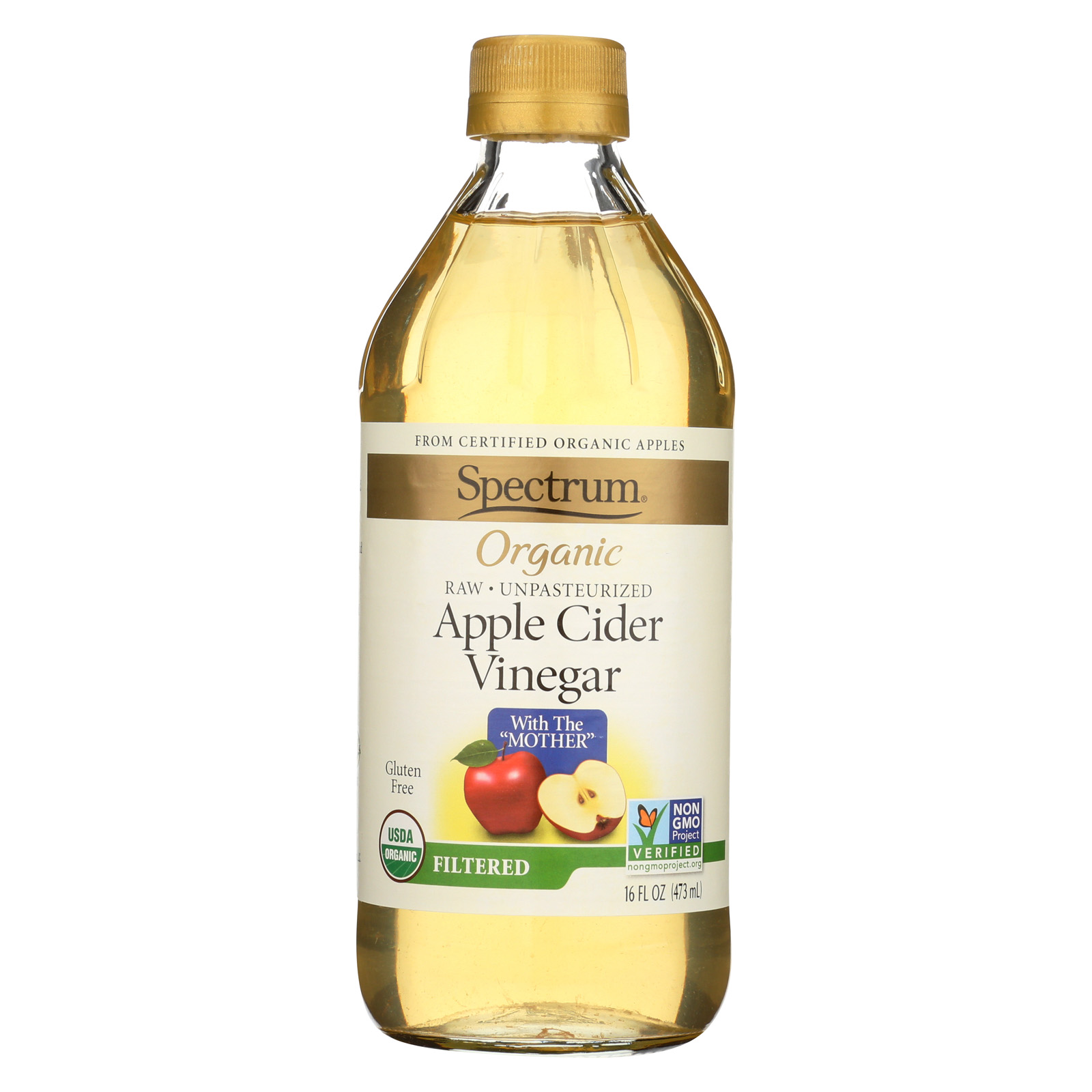 SPECTRUM NATURALS Organic Filtered Apple Cider Vinegar 16 OZ