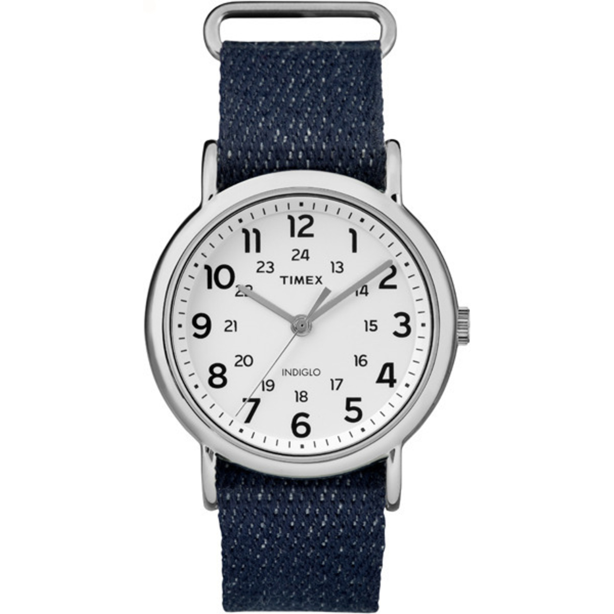 Timex Weekender Gold-Tone Case Nylon Strap 24-Hour Dial