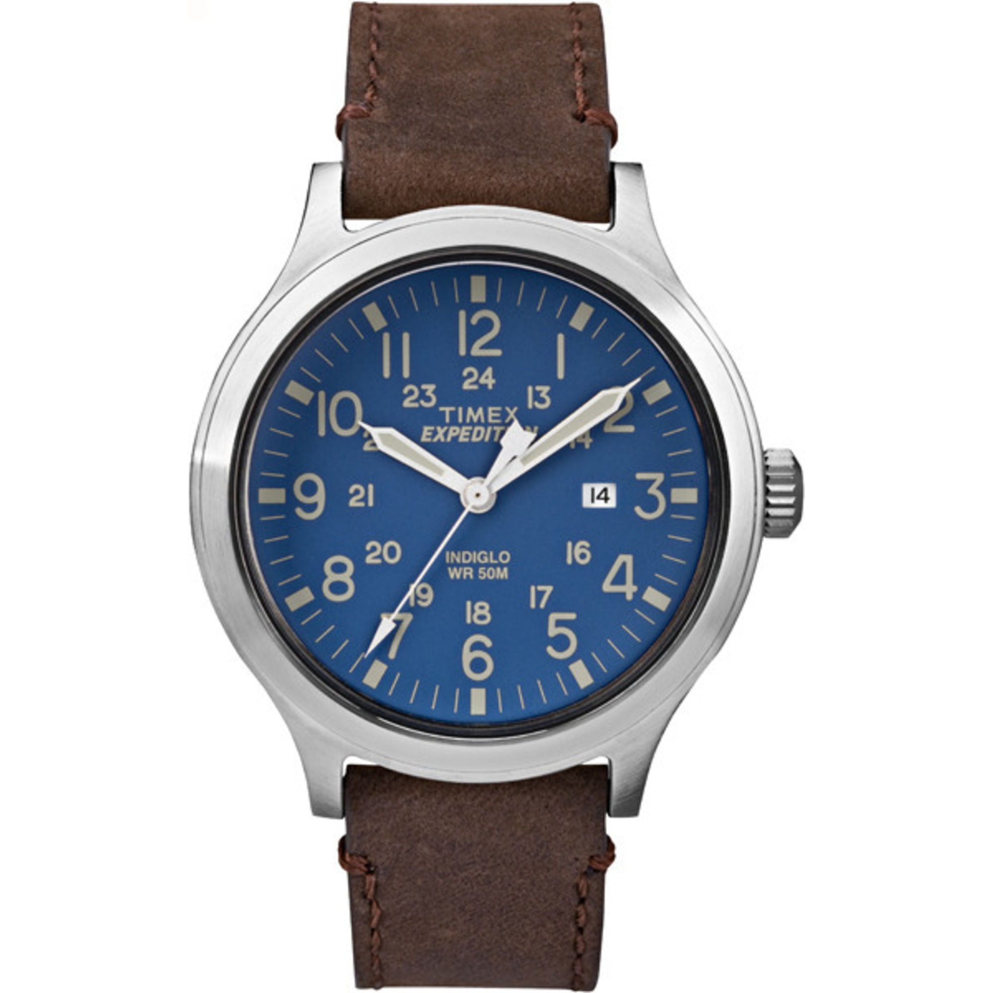 Timex Men's Expedition Scout 43 Blue Dial Leather Strap Casu
