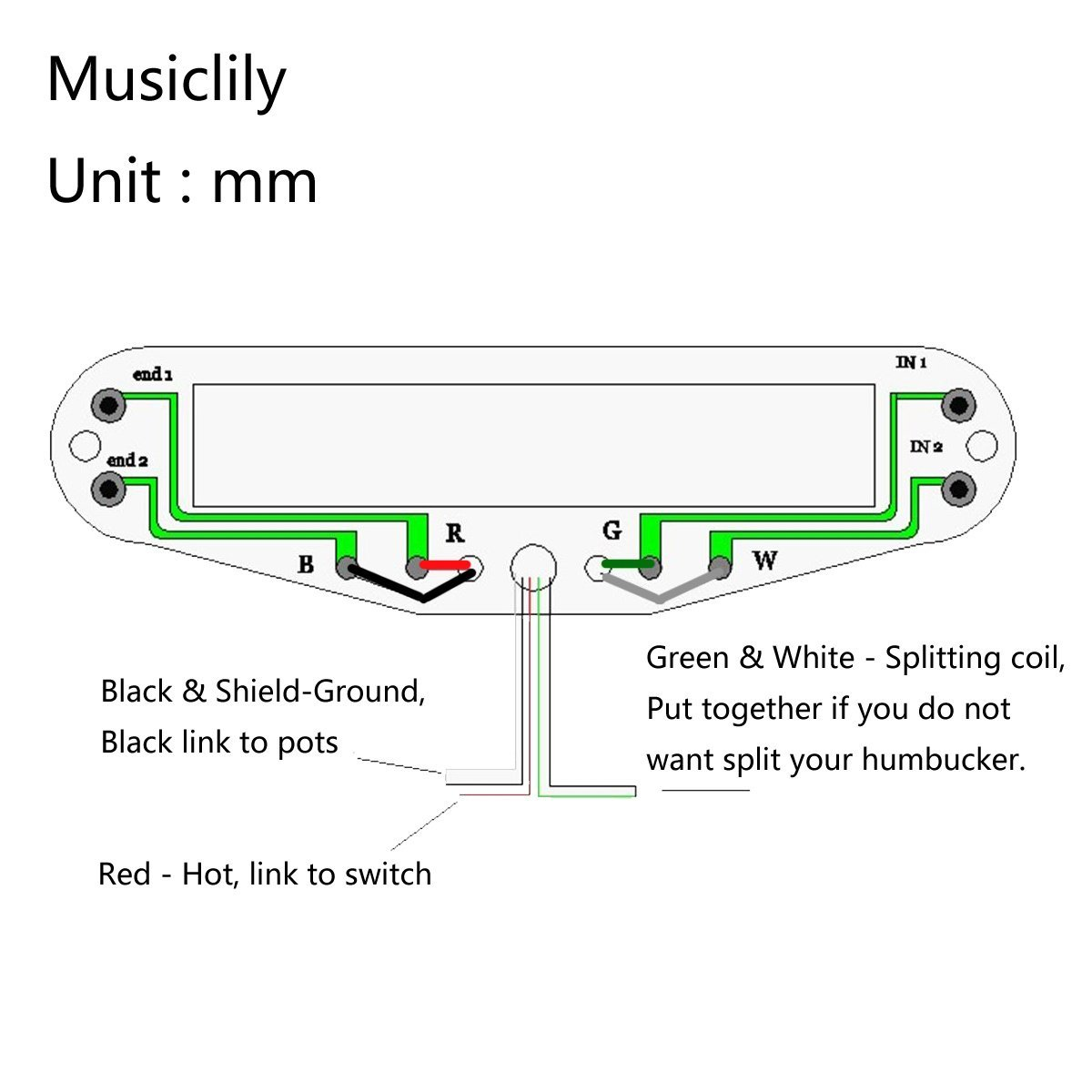 Single Hot Rail Wiring Diagram Most Uptodate Info Coil Pickup Diagrams Size Blaster Strat Humbucker Electric Guitar Rh Ebay Com