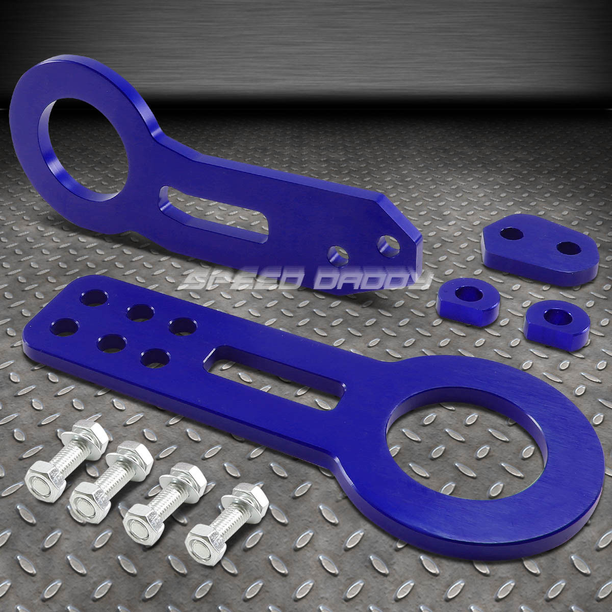 """NRG 10MM 2.25/""""OPENING ALUMINUM BLUE RACING TOWING TOW HOOK FRONT+BOLTS KIT"""