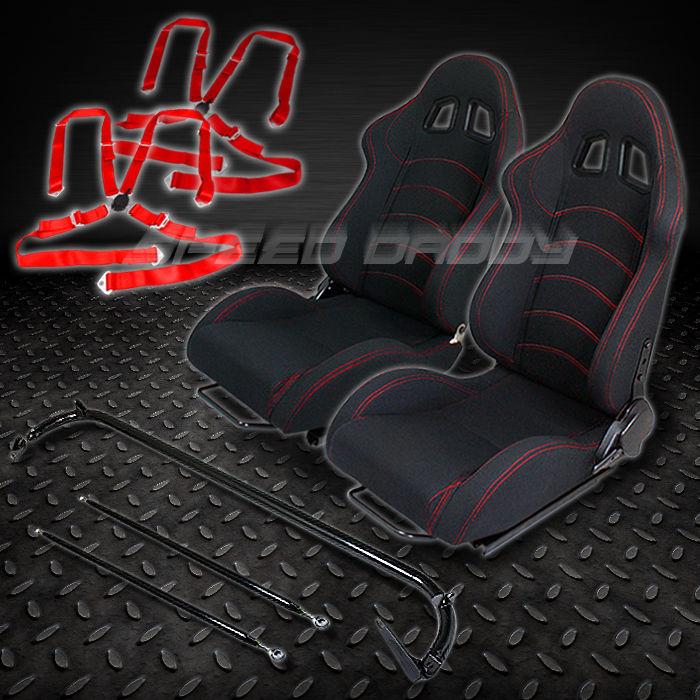 2 f1 black racing seats harness bar 4pt camlock belts. Black Bedroom Furniture Sets. Home Design Ideas