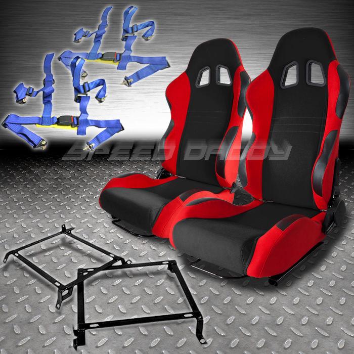 2X BLACK/RED T7N RACING SEATS+BRACKET+4PT BLUE BELT HONDA