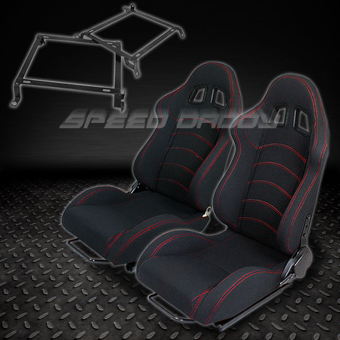 2X WOVEN RECLINABLE RACING SEATS TYPE-F1+BRACKETS 88-91