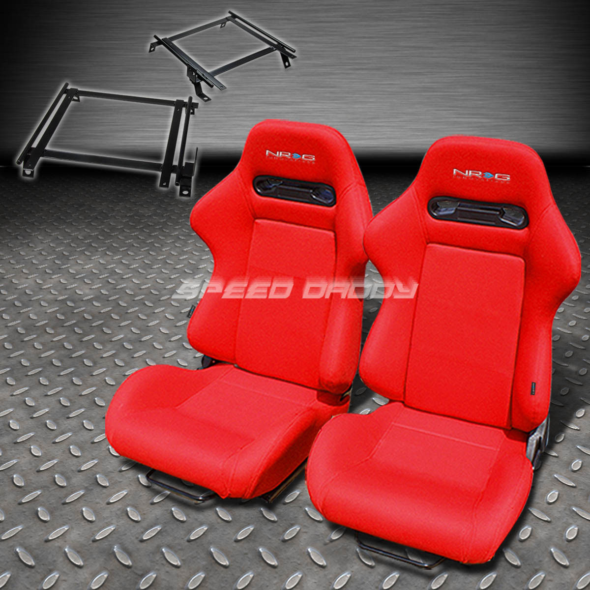 PAIR NRG TYPE-R STYLE RED CLOTH RACING SEAT+BRACKET FOR 90