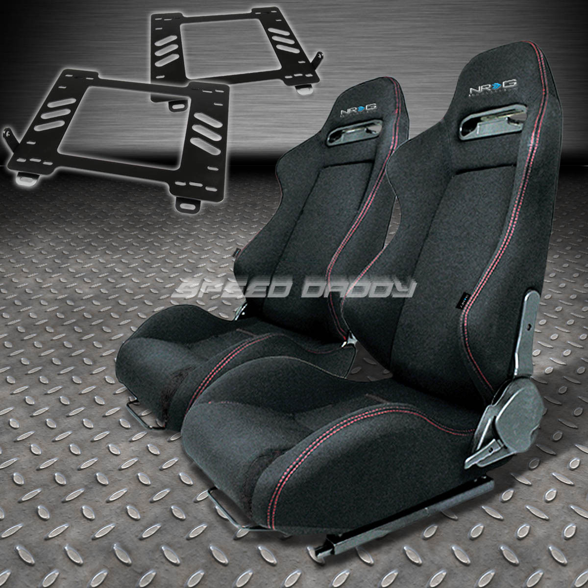 PAIR NRG TYPE-R STYLE BLACK CLOTH RACING SEAT+BRACKET FOR