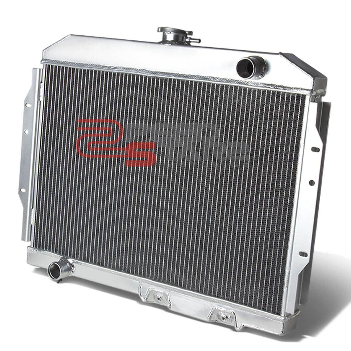 """2-ROW ALUMINUM RADIATOR+2X 10/""""FAN RED FOR 58-70 AMC REBEL//AMX//JAVELIN l6//V8"""