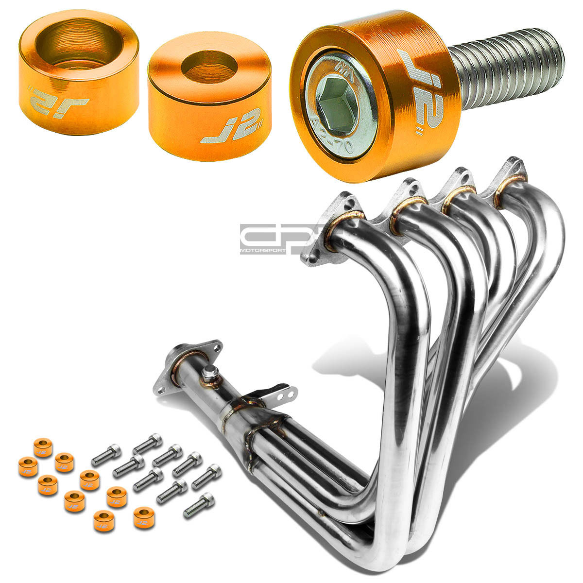J2 FOR INTEGRA DC2 B18 EXHAUST MANIFOLD RACING HEADER+SILVER WASHER CUP BOLTS
