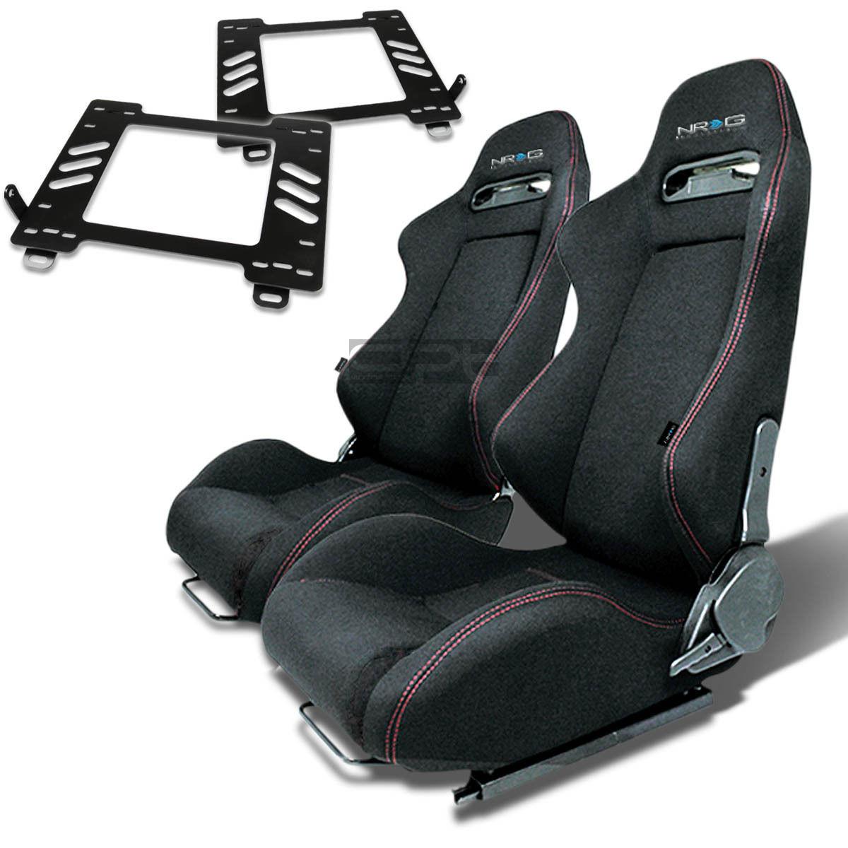 Details about NRG TYPE-R RACING SEAT BLACK CLOTH+SILDER+FOR 89-97 MIATA  MX5/MX-5 NA BRACKET X2