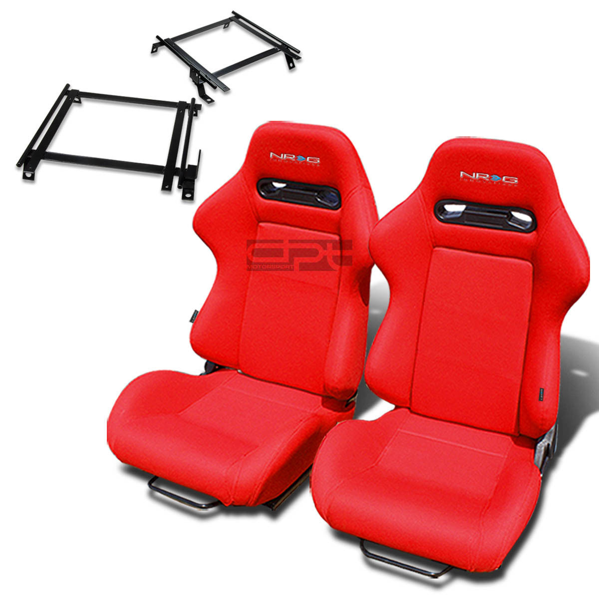 NRG TYPE-R RACING SEAT RED CLOTH+SILDER/RAIL+FOR 02-06