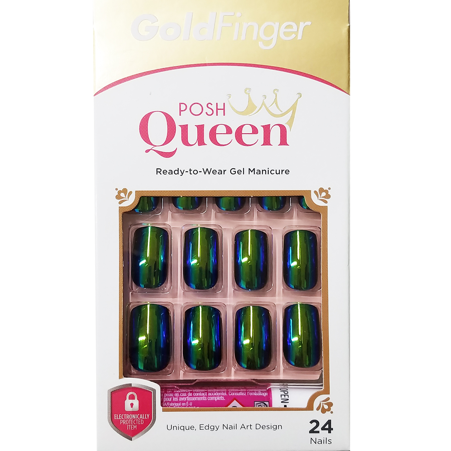 KISS GOLD FINGER POSH QUEEN 24 FULL COVER NAILS GLUE ON INCLUDED ...