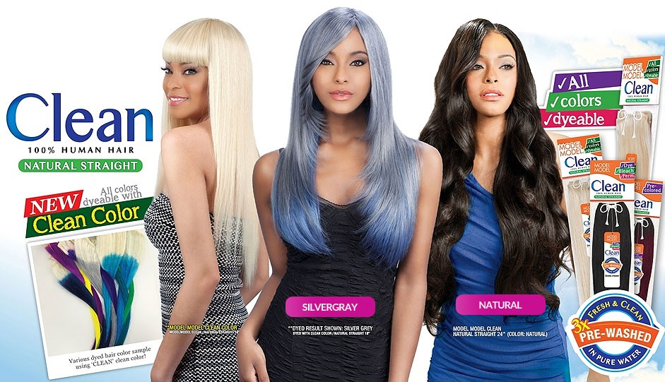 Model Model Clean 100 Human Hair Pre Washed Weave Natural Straight