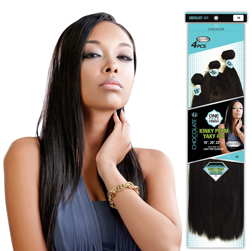 Kinky Perm Yaky 4pcs 182022 Ice Chocolate Human Hair Blend