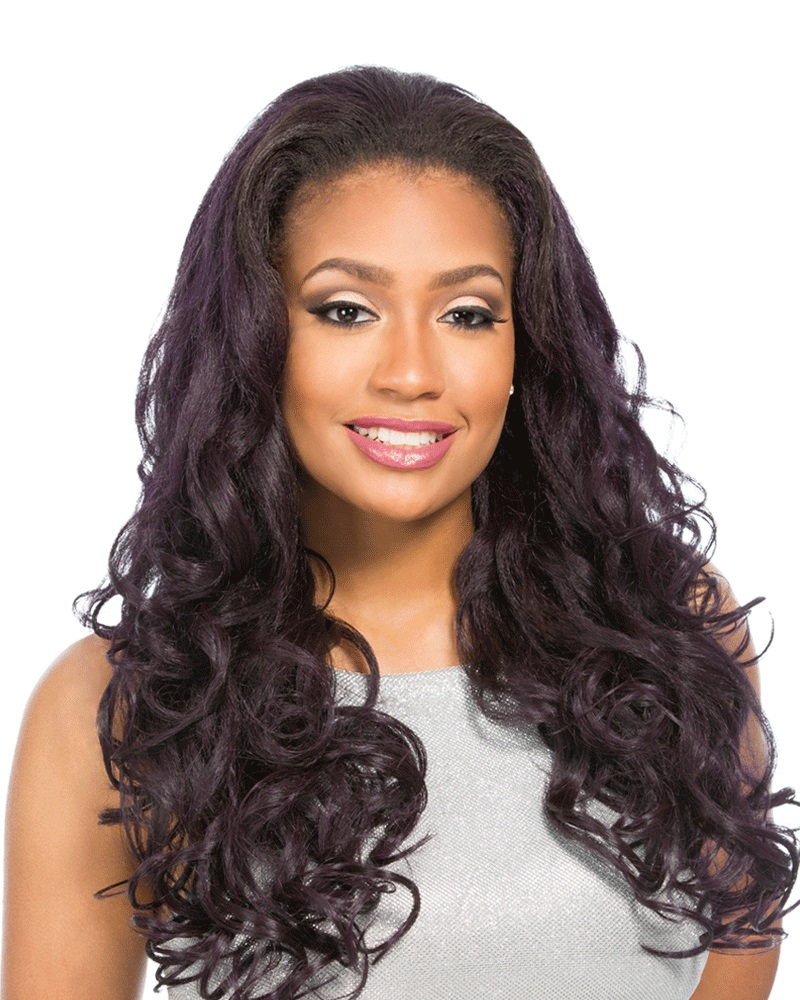 Lamont Sensationnel Synthetic Instant Weave Half Wig Long Spiral