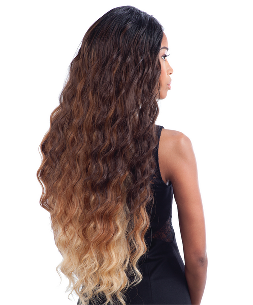Que Malaysian Long Loose Wave 7pcs Bundle Human Hair Blended Weave