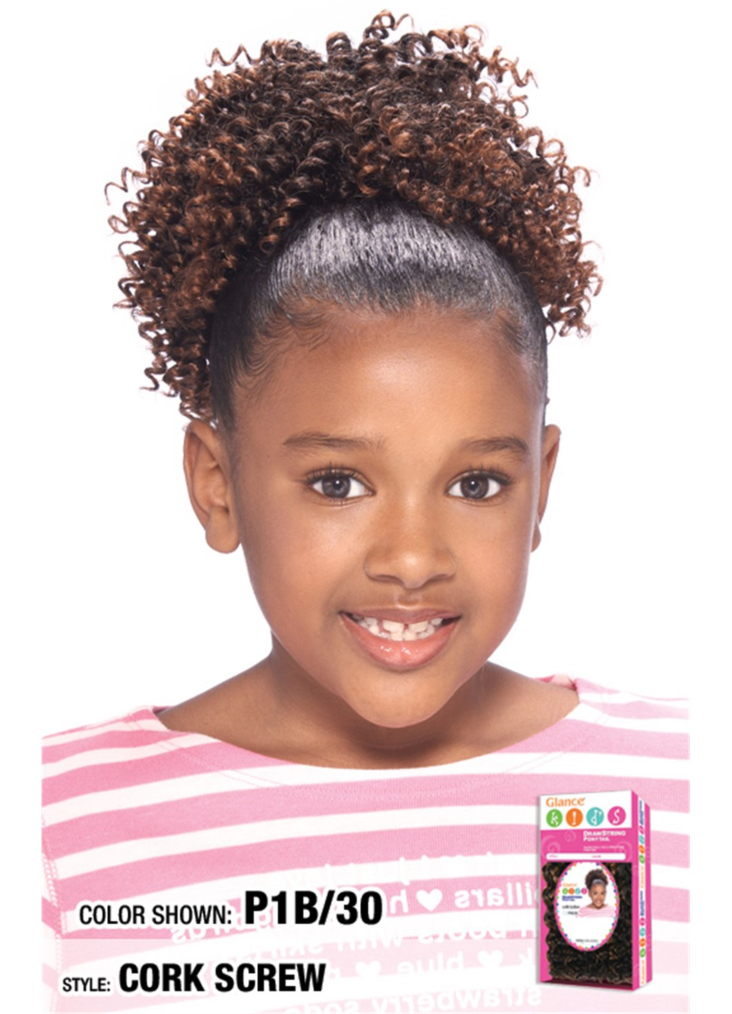 Model Model Glance Kids Draw String Ponytail Curly Weave Extension