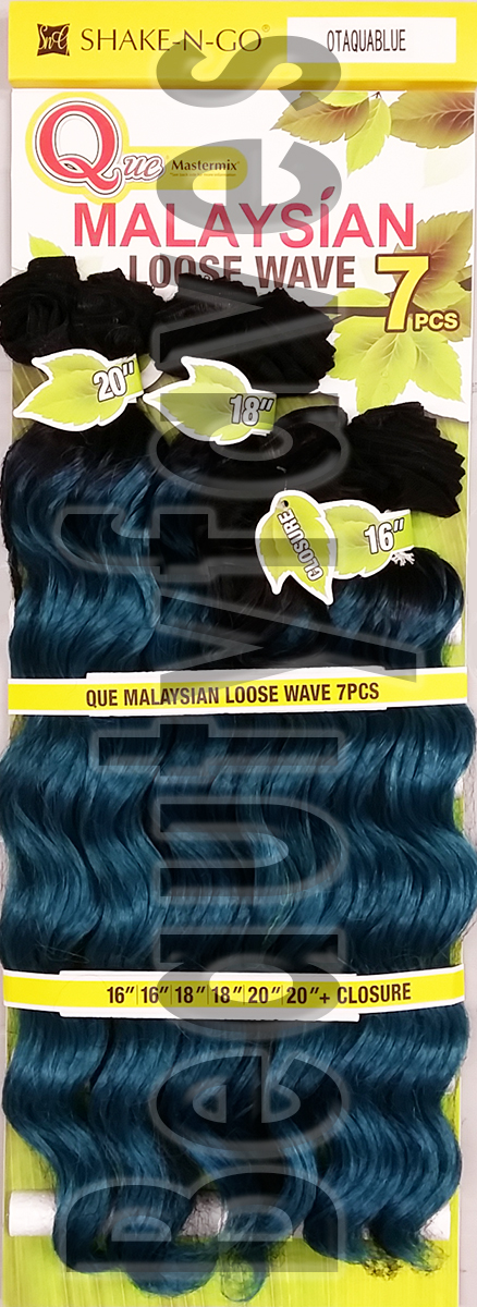 Que Malaysian Loose Wave 7pcs Bundle Human Hair Blended Weave