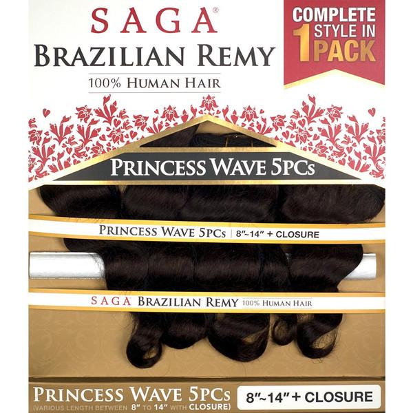 Princess Wave 5pcs Saga Brazilian Remy 100 Human Hair Weave 810