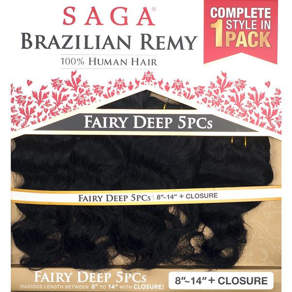 Fairy Deep 5pcs Saga Brazilian Remy 100 Human Hair Weave 810