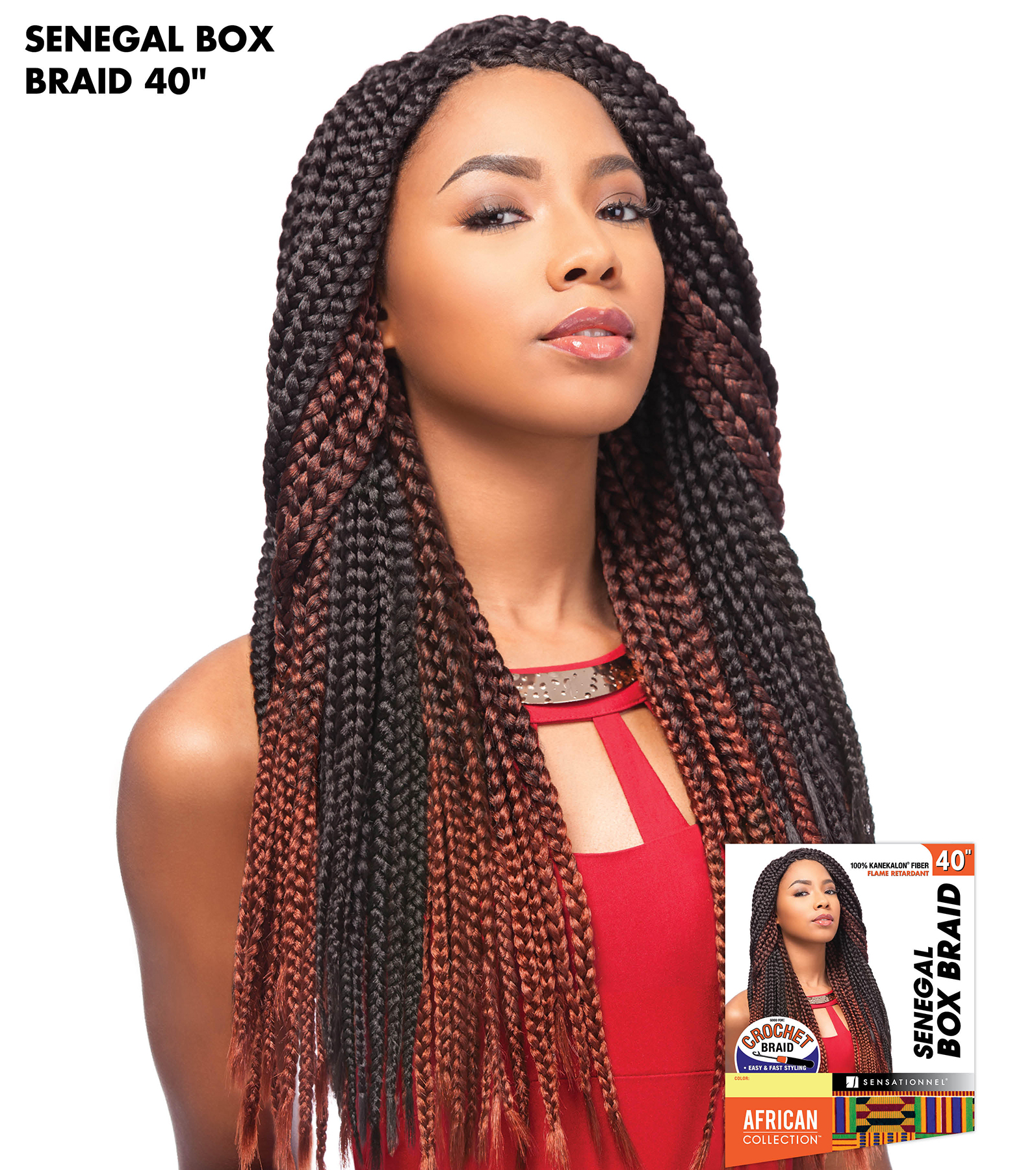 Senegal Box Braid 40 Sensationnel Crochet Braiding Hair Extension