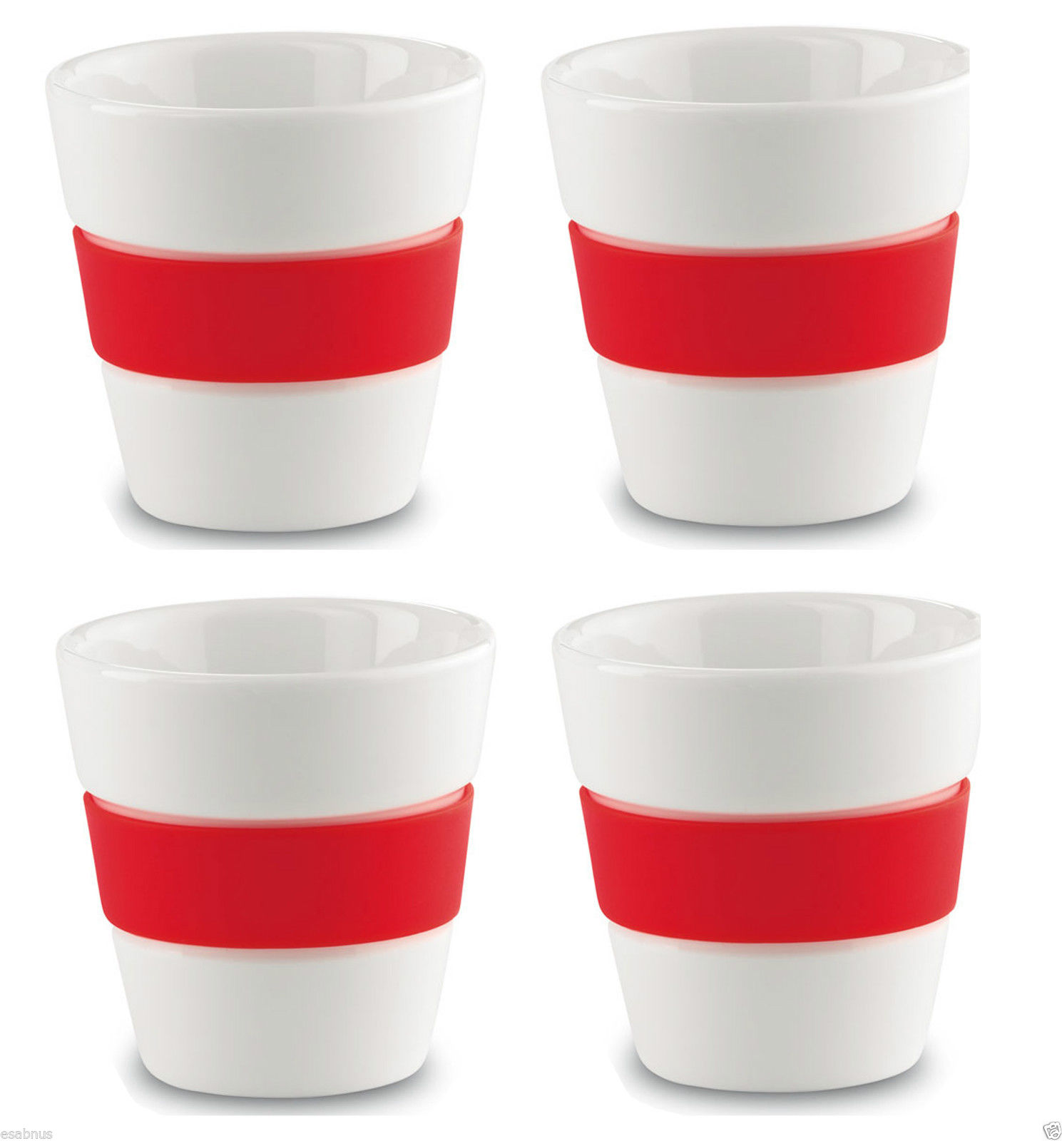 4-Cup-Espresso-Coffee-Set-White-with-Coloured-Silicone-Grip-100ml-Dining-Room