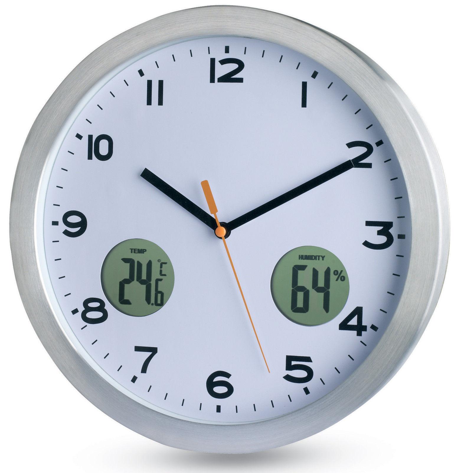 analogique horloge murale aluminium bo tier thermom tre. Black Bedroom Furniture Sets. Home Design Ideas