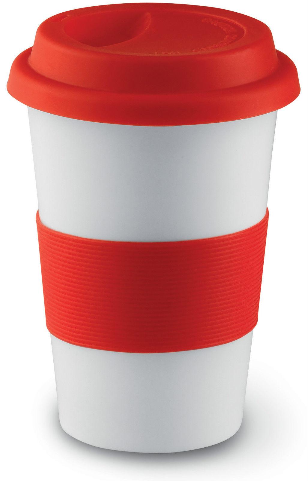 Bn Ceramic Take Away Travel Mug Coffee Tea Silicone Lid
