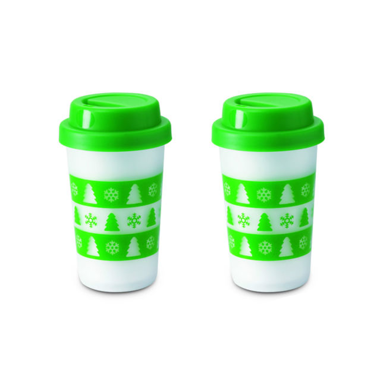 2 Arbol De Navidad Aislante Tazas Para Beber Vaso Con Tornillo Lid - Arbol-de-navidad-con-vasos-de-plastico