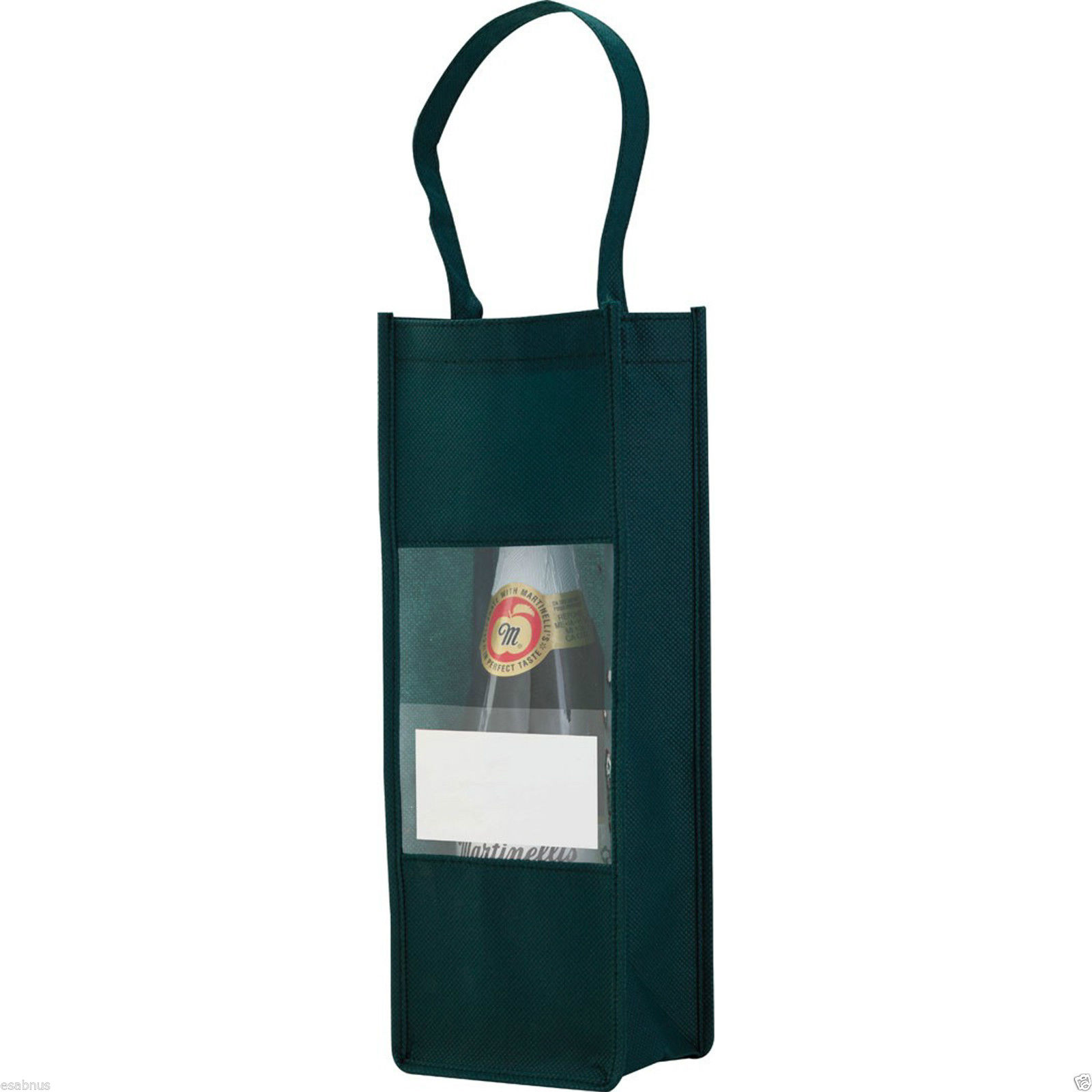 Wine-Bottle-Carrier-Bag-Non-woven-clear-front-amp-pocket-for-your-message-Gift