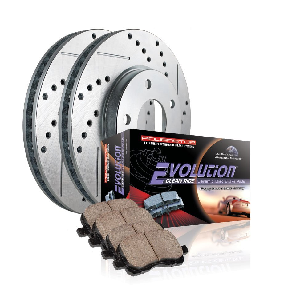 Power Stop K2813 Front and Rear Z23 Evolution Brake Kit with Drilled//Slotted Rotors and Ceramic Brake Pads