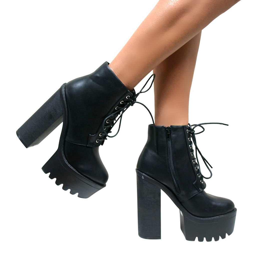 Black High Heel Lace Up Shoes